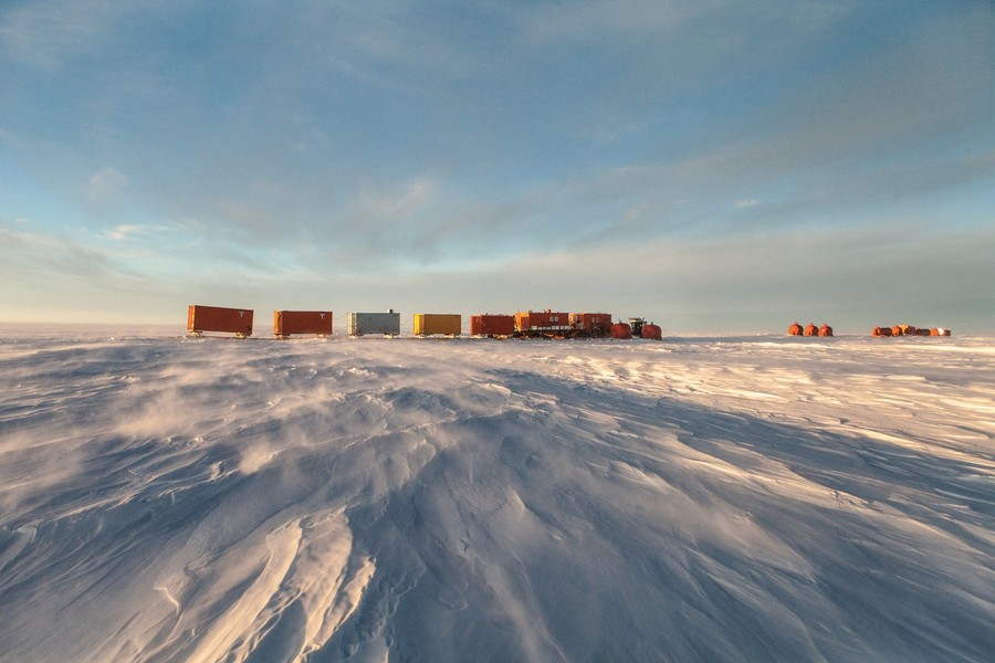 Francois Lepage/IP3 - Antarctica suplly convoy for Dumont D Urville Base and Concordia Research Station - Francois Lepage / IP3; Southern Ocean, Antarctica on February 16  2013 -   Raiders  on their way to the Concordia Research Station.  Concordi... - protected by IMATAG