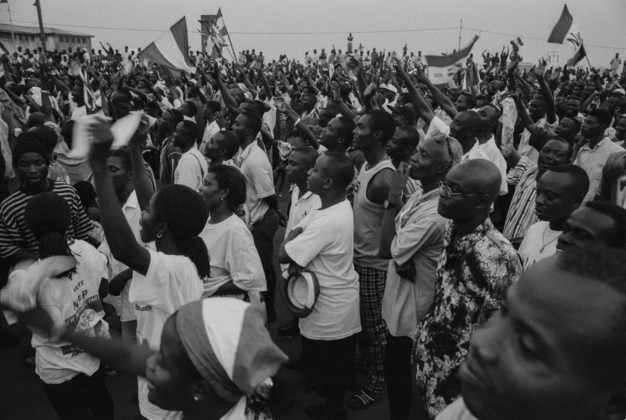 Thierry Secretan - POLITICAL RALLY IN GHANA - A New Patriotic Party rally in Ghana during the 2000 presidential elections. - protected by IMATAG