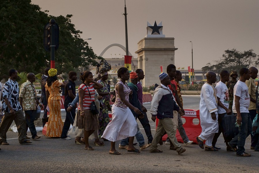 Thierry Secretan - BLACK STAR SQUARE - Crowds of Ghanaians in their best dress are flocking to Black Star Square in Accra, Ghana, for the presidential inauguration. - protected by IMATAG