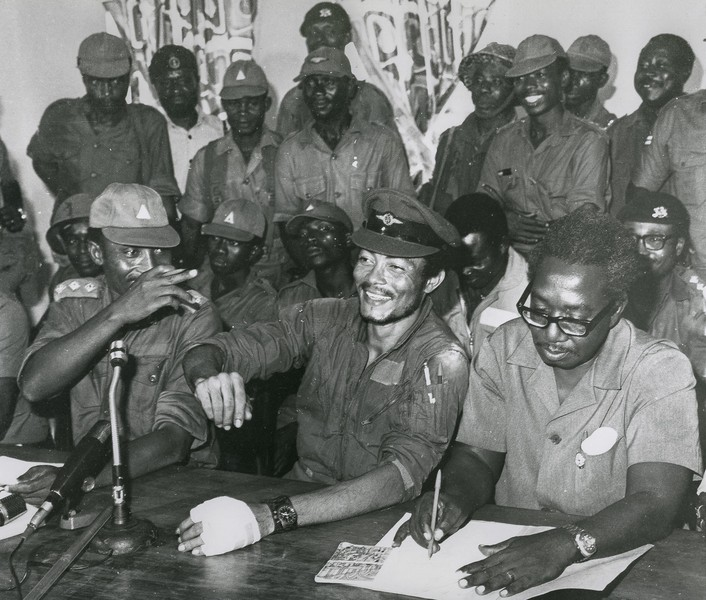 coll. Thierry Secretan - Flt. Lt. JERRY JOHN RAWLINGS CHAIRMAN OF THE AFRC. - Flt. Lt. JJ. Rawlings  (center), cpt Boakye Djan, left, and the members of the AFRC after the successful uprising of June 4th 1979. - protected by IMATAG