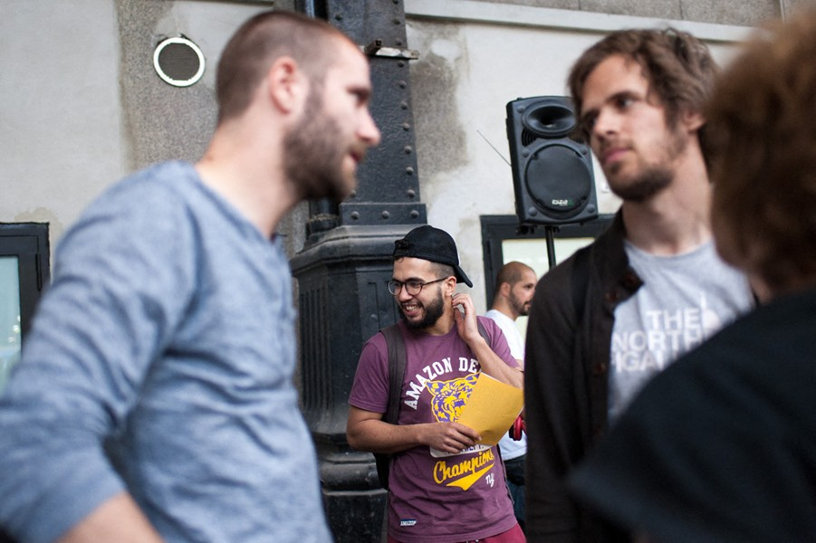 Julien Hazemann - THE YOUNG STRIKERS - Arnaud, a CGT member (the main French union), Bastien and Malik, both SUD members (a leftist union) during the general assembly's setup. They... - protected by IMATAG