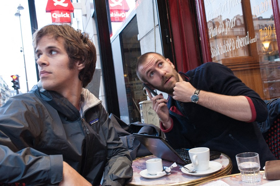 Julien Hazemann - PREPARATION OF THE MEETING - Bastien and Arnaud in a café to prepare a strike committee meeting. - protected by IMATAG