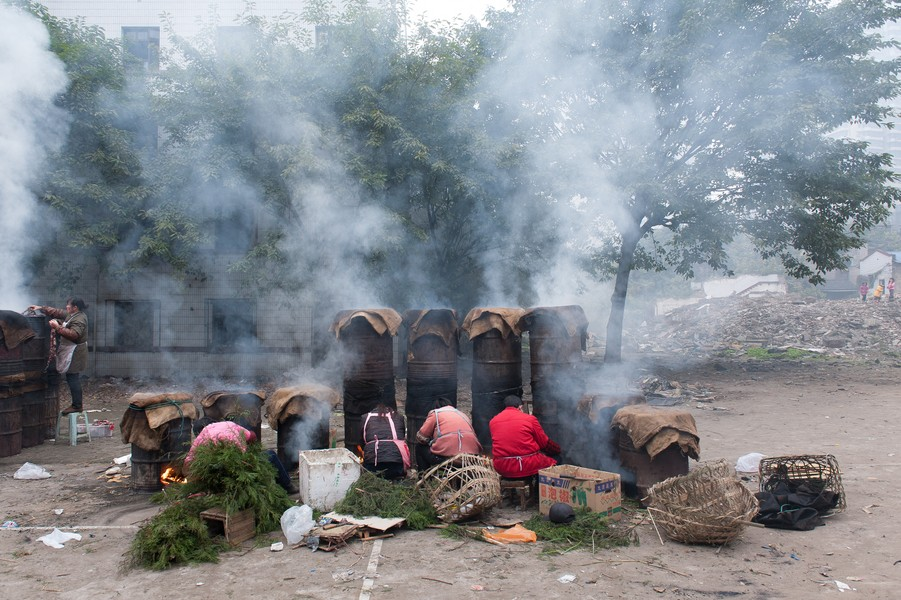 Julien Hazemann - NEW YEAR' S EVE SAUSAGES - Women in the midst of preparations for the Chinese New Year's celebrations are smoking sausages in the courtyard of a former school of Shi Ba... - protected by IMATAG
