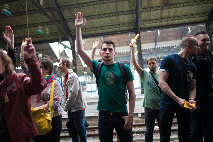 Julien Hazemann - VOTING FOR THE STRIKE - Railway workers voting to strike at a general assembly of railway workers at the St-Lazare station in Paris in June 2016. - protected by IMATAG
