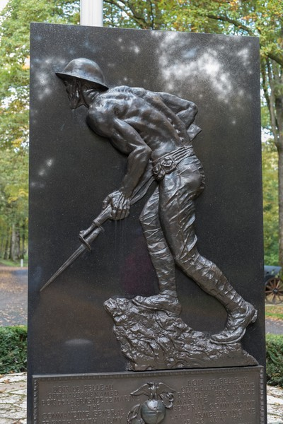 Thierry Secretan for The New York Times - Bois Belleau - On top of the hill the Marines Monument by sculptor Felix de Weldon. The Aisne-Marne American Cemetery and Memorial known in short as Bois Be... - protected by IMATAG